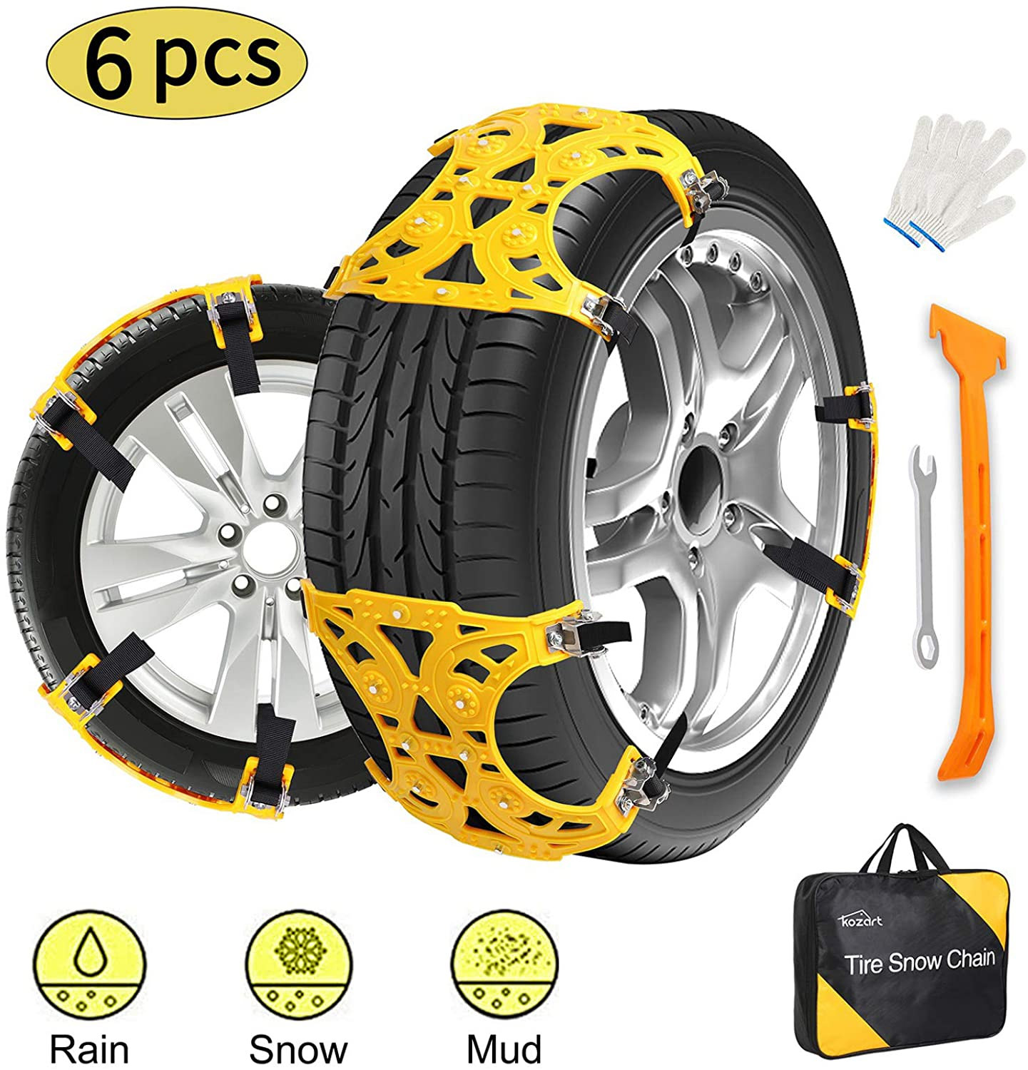 Kozart Snow Chains for Car, 6 Pcs Emergency Tire Chains for Pickup Trucks, Cars, and SUVs, Universal Anti Slip Snow Chains for SUV, Adjustable Traction Tire Chains