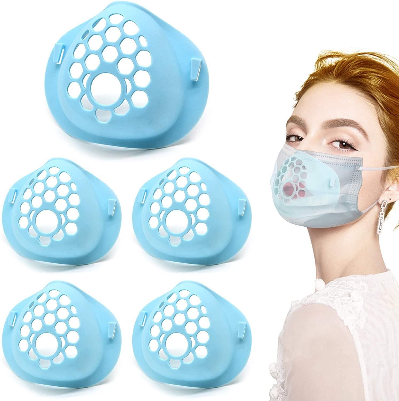 Luxtude Mask Bracket, Face Bracket for Mask, Food Grade Silicone 3D Mask Bracket Internal Support Frame for Comfortable Breathing, Washable and Reusable Face Mask Bracket for Adult (5 Pack, Blue)