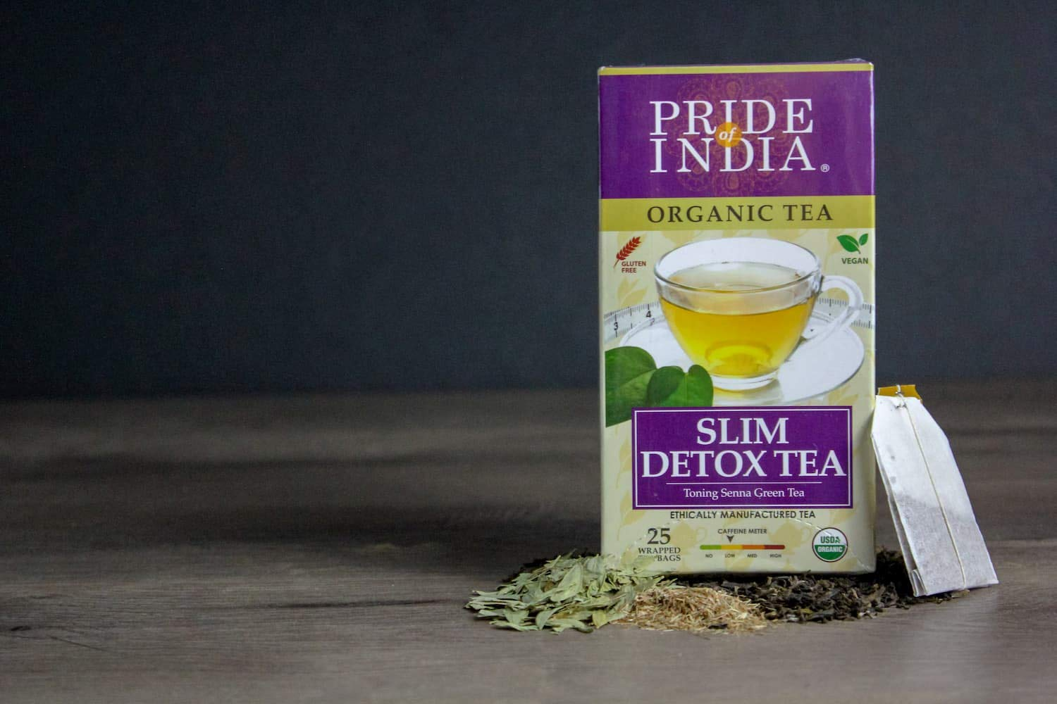 Pride Of India - Organic Senna Slim Teatox Toning Tea - 25 Tea Bags - Herbal Senna-Green Tea - Good for body shaping - Tea tox in 2 weeks - natural laxative and very low caffeine.