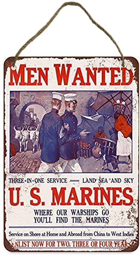 TOPlastt Men Wanted for U.S. Marines Vintage Look Home Decor Wood Sign 20x30cm