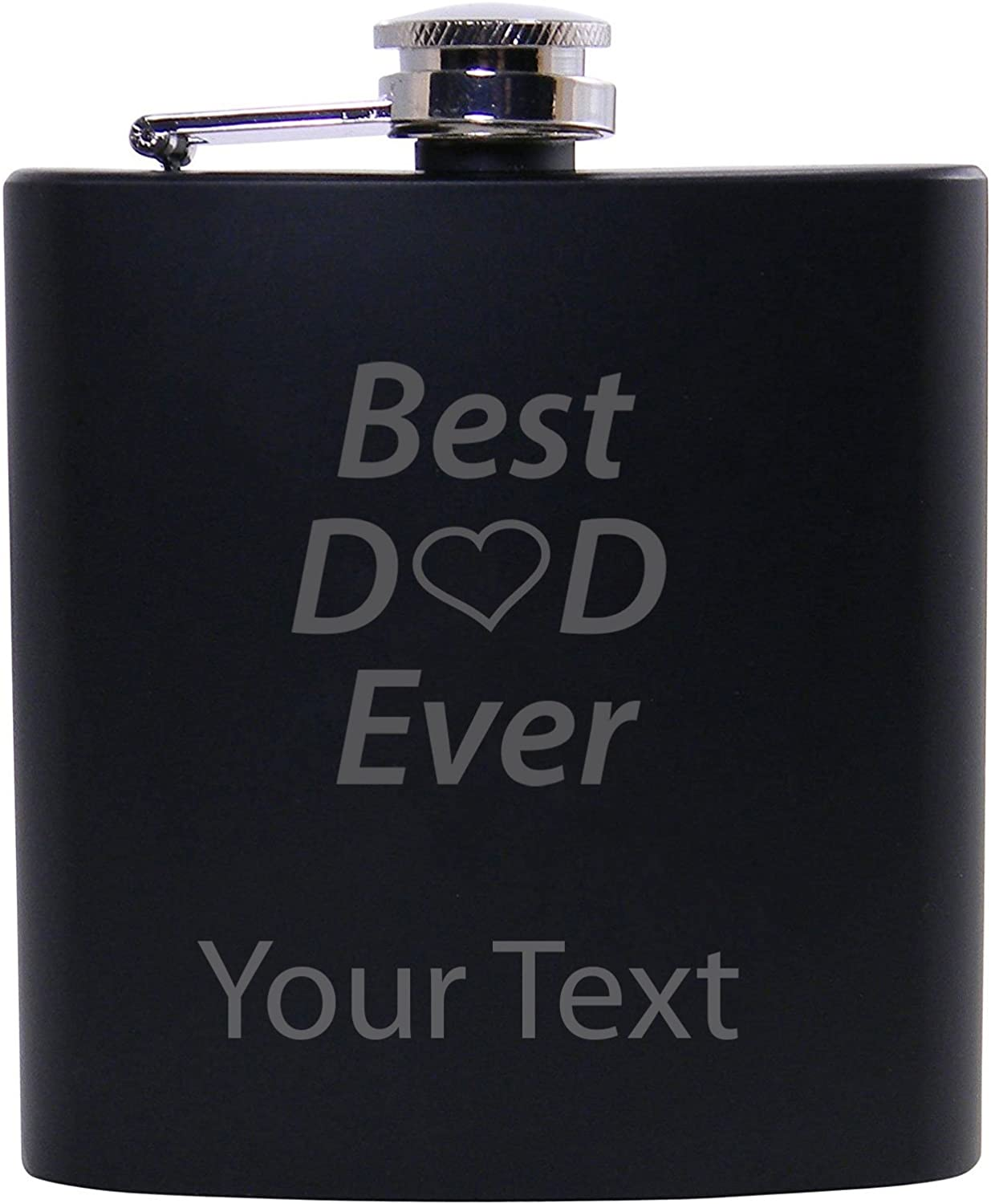 Personalized Custom Best Dad Ever Black Stainless Steel Hip Customizable Flask