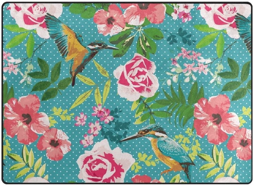 ABLINK Non-Slip Area Rugs Home Decor, Stylish Tropical Hawaiian Flowers with Hummingbird Durable Floor Mat Living Room Bedroom Carpets Doormats 80 x 58 inches
