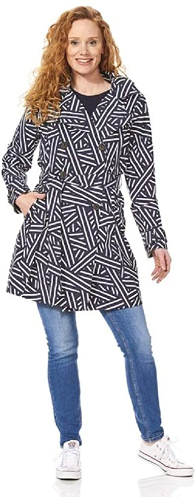 Happy Rainy Days Women's Classic Trench Coat with Removable Hood, Geometric Lines White/Dark Blue, Small
