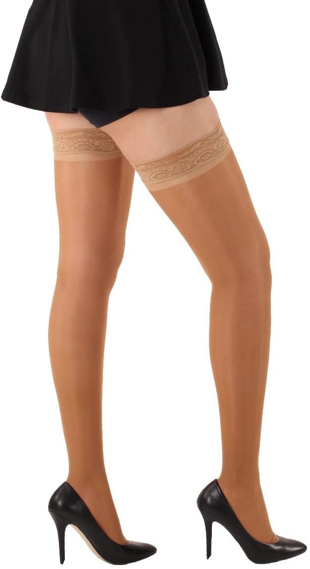 Sheer Compression Stockings Thigh High Grip Top Stocking Beige Small