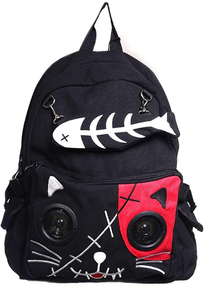 Lost Queen Kitty Speaker Backpack - Black/Purple/One Size