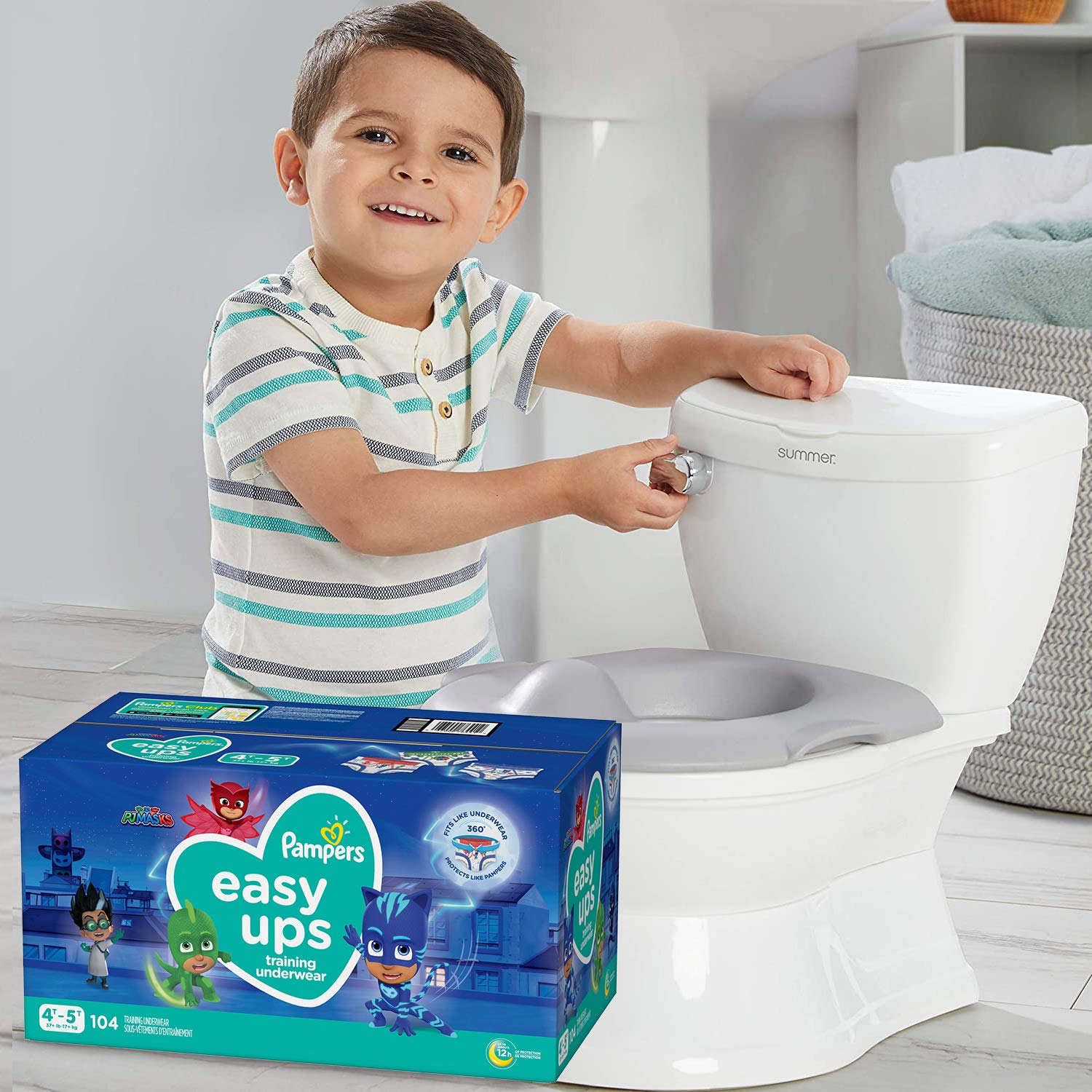 Potty Training Seat Starter Kit—My Size Potty Train & Transition and Pampers Easy Ups 4T-5T Potty Training Underwear for Boys and Girls, Size 6, 104 Count (Packaging May Vary)