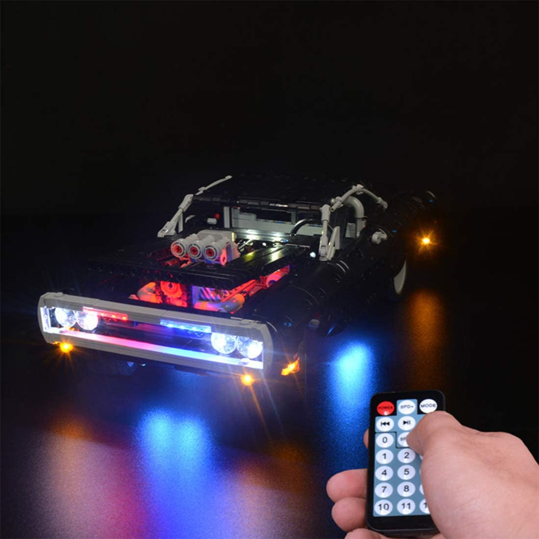 WOLFBSUH LED Light Set for (Technic Doms Dodge Charger) Building Blocks Model - Lighting Kit Compatible with Lego 42111 (LED Included Light Only, NOT Included The Lego Model)