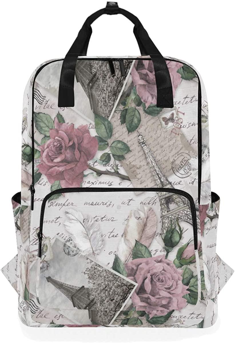 Kaariok Vintage Paris Eiffel Tower Rose Flower Letter Backpack School Travel Daypack Laptop College Bookbag 14 Inch Doctor Bag