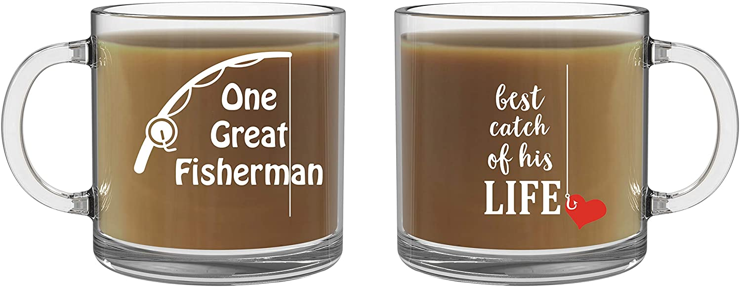 One Great Fisherman, Best Catch of His Life Mugs - 13oz Glass Coffee Mug Couples Sets - Funny His and Her Cups - Wedding or Anniversary - By CBT Mugs