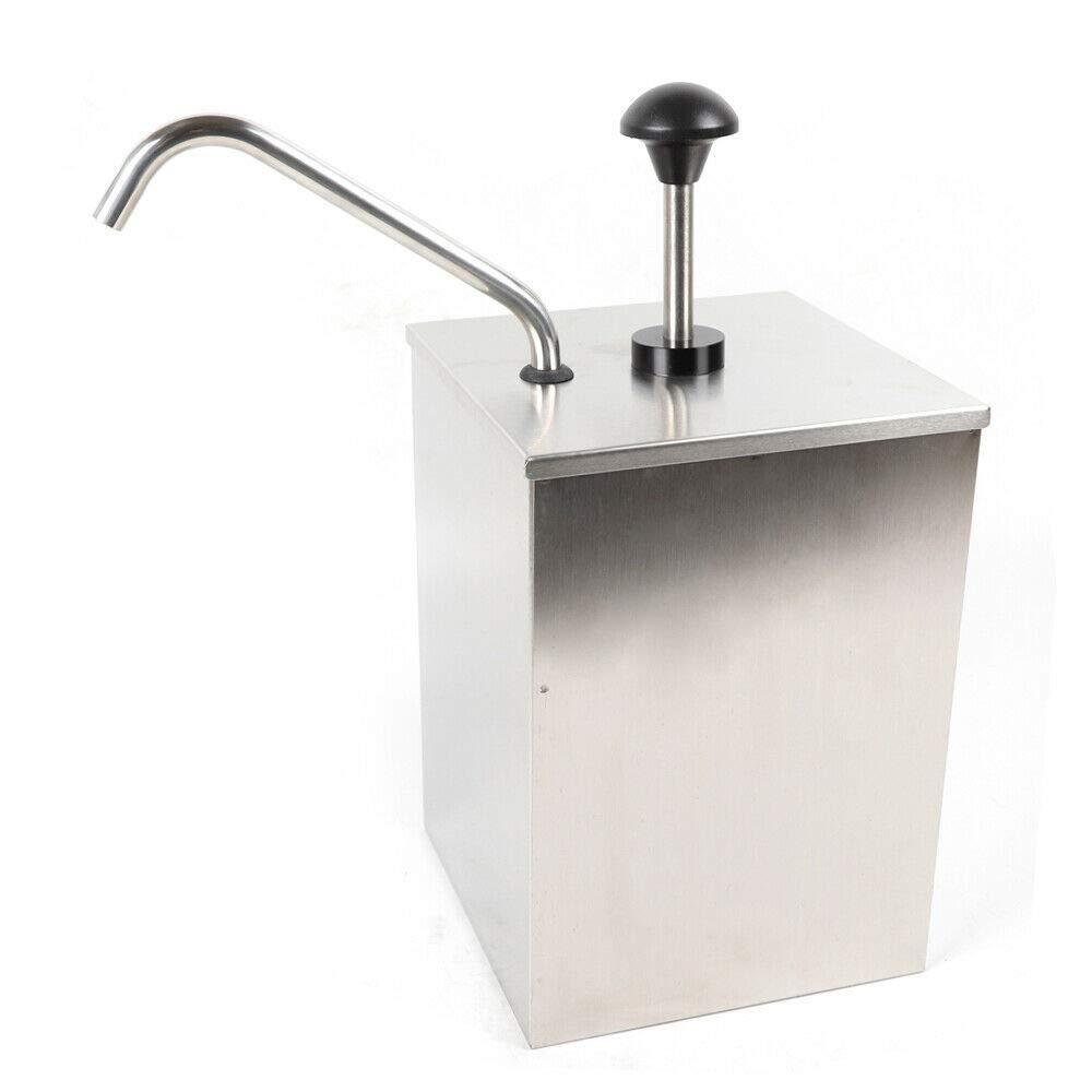 Condiment Pump Squeeze with Bucket Condiment Pump Dispenser 4L Stainless Steel Sauce Pump Dispenser for Home Restaurant Ketchup Salad Jam Sauce Squeeze