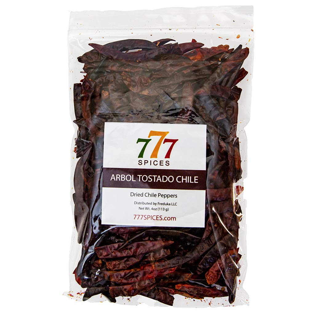 4oz Chile de Arbol Tostado, Whole Chilies Peppers, Natural Dehydrated Chili Pods for Authentic Mexican Food, Heat-Sealed Resealable Bag