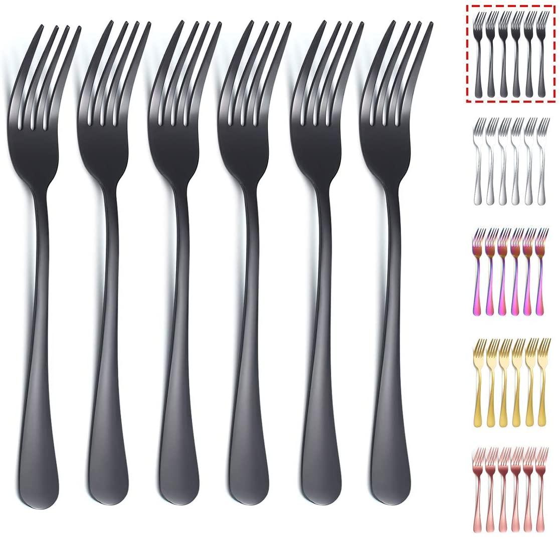 Kyraton Black Dinner Fork 6 Pieces, Stainless Steel 8.17 Inch Forks Black Titanium Plating Silverware, Black Forks Set of 6