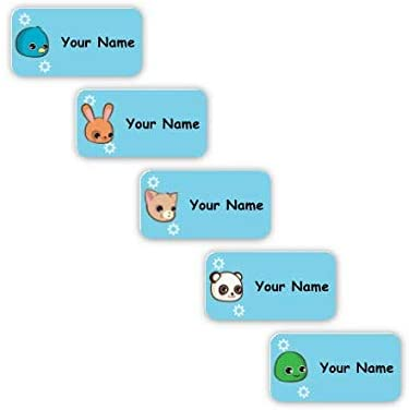 Personalized Waterproof No-Sew Laundry Safe Stick-on Labels for Clothing (Anime Animals Theme)