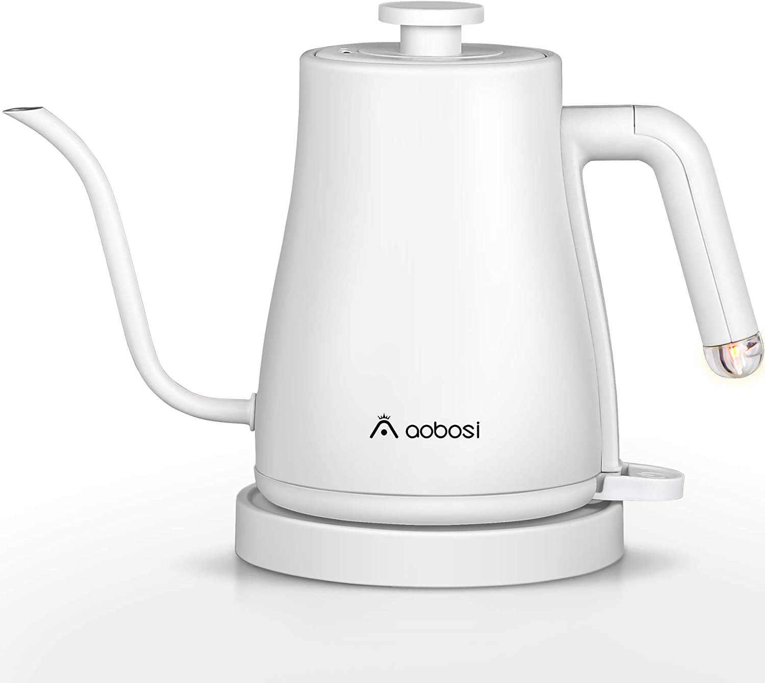Aobosi Electric Kettle Gooseneck Kettle, 3-IN-1 Pour Over Coffee Kettle with Stainless Steel Inner Lid & Bottom, Boil-Dry Protection, 1000W Fast Heating, Auto-Shut Off, 1L Tea Kettle, Matte White