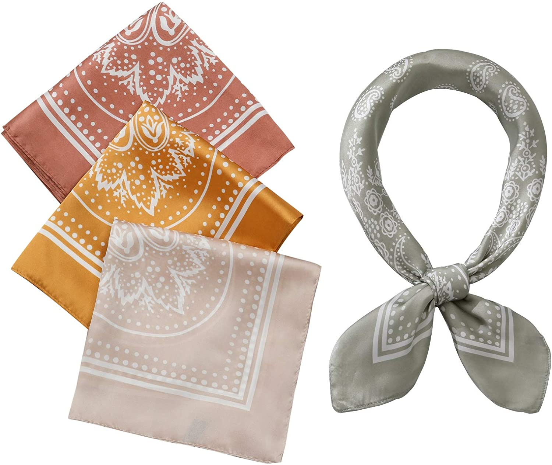 4 Pcs 26.5×26.5 inches Silk Feel Satin Square Head Scarves for Women Neck Hair Scarves Hair Bandanas