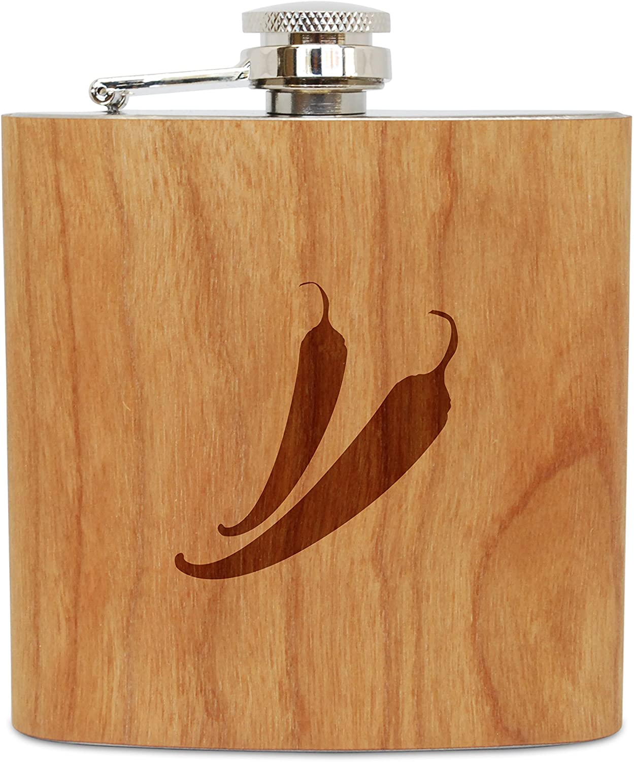 WOODEN ACCESSORIES COMPANY Cherry Wood Flask With Stainless Steel Body - Laser Engraved Flask With Peppers Design - 6 Oz Wood Hip Flask Handmade In USA