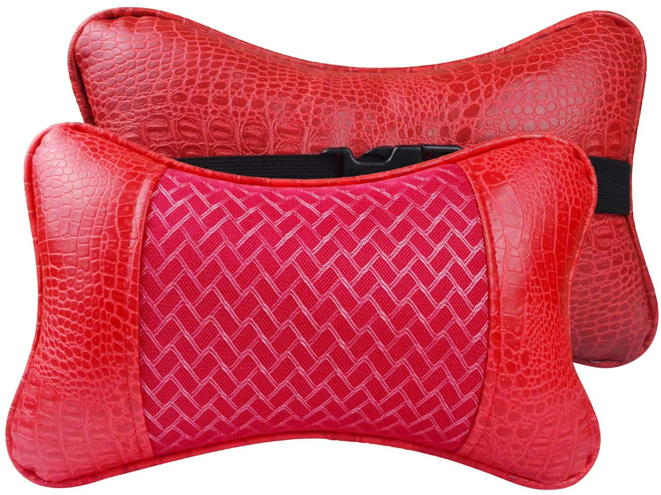 YIHO Car Neck Support Pillow Leather Head-Rest Cushion to Relief Cervical Shoulder Pain Issues for Universal Driver & Passenger Seat in Travel or Office Chair (Red Silver)