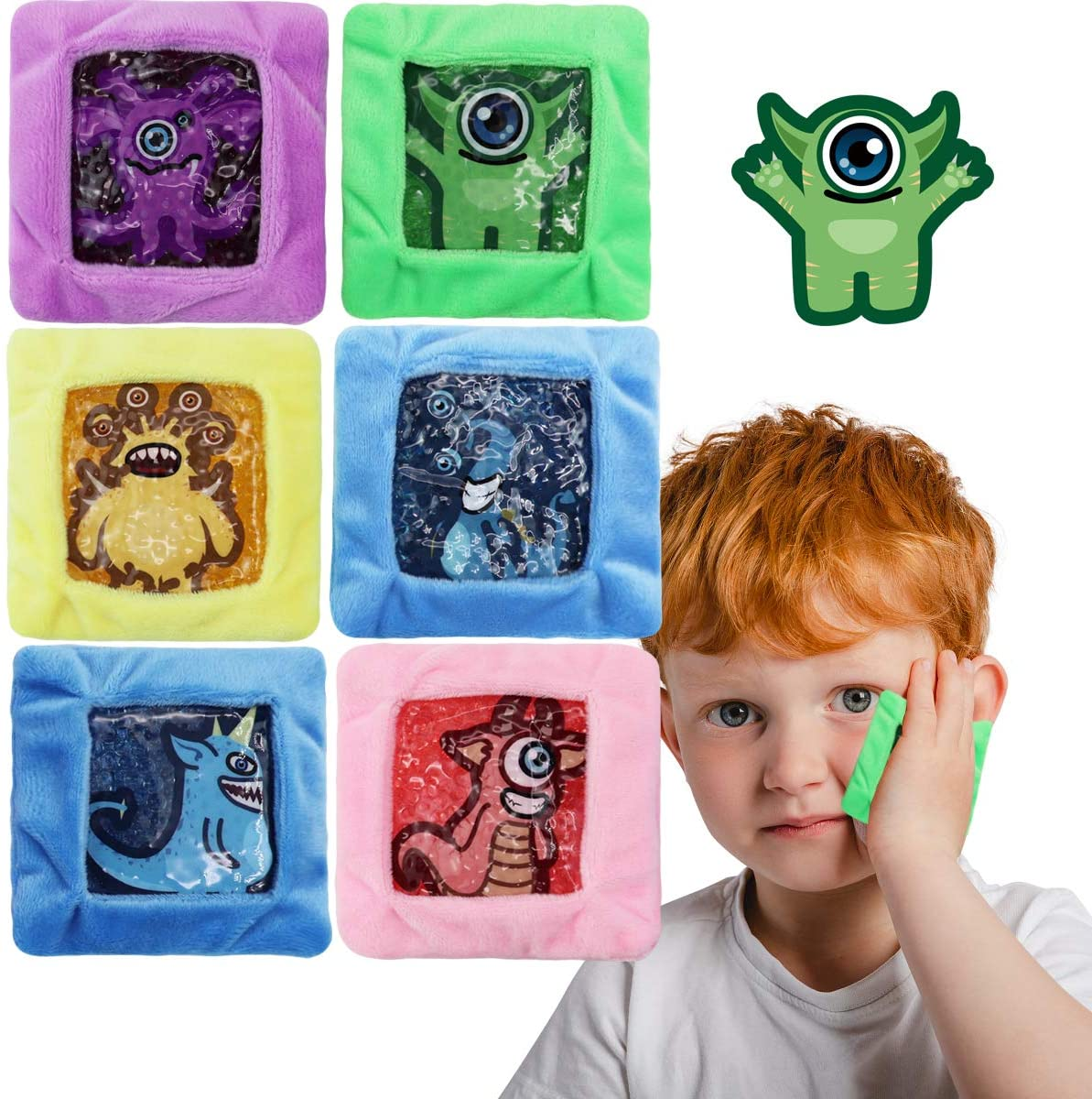 Kids Ice Pack, Hot or Cold Pack Gel Bead Cooling Pad, Reusable for Injuries Medical Health,Swelling and Pain Relief, Tired Eyes, Child Injury, Headache, Sinus Relief, 6 Pcs