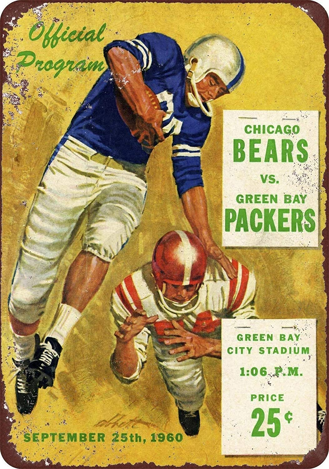 Vintage Retro Collection tin Signs 1960 Green Bay Packers Chicago Bears Wall Decoration Poster Home bar Restaurant Cafe Art Metal Sign 8X12 Inch Tin Sign