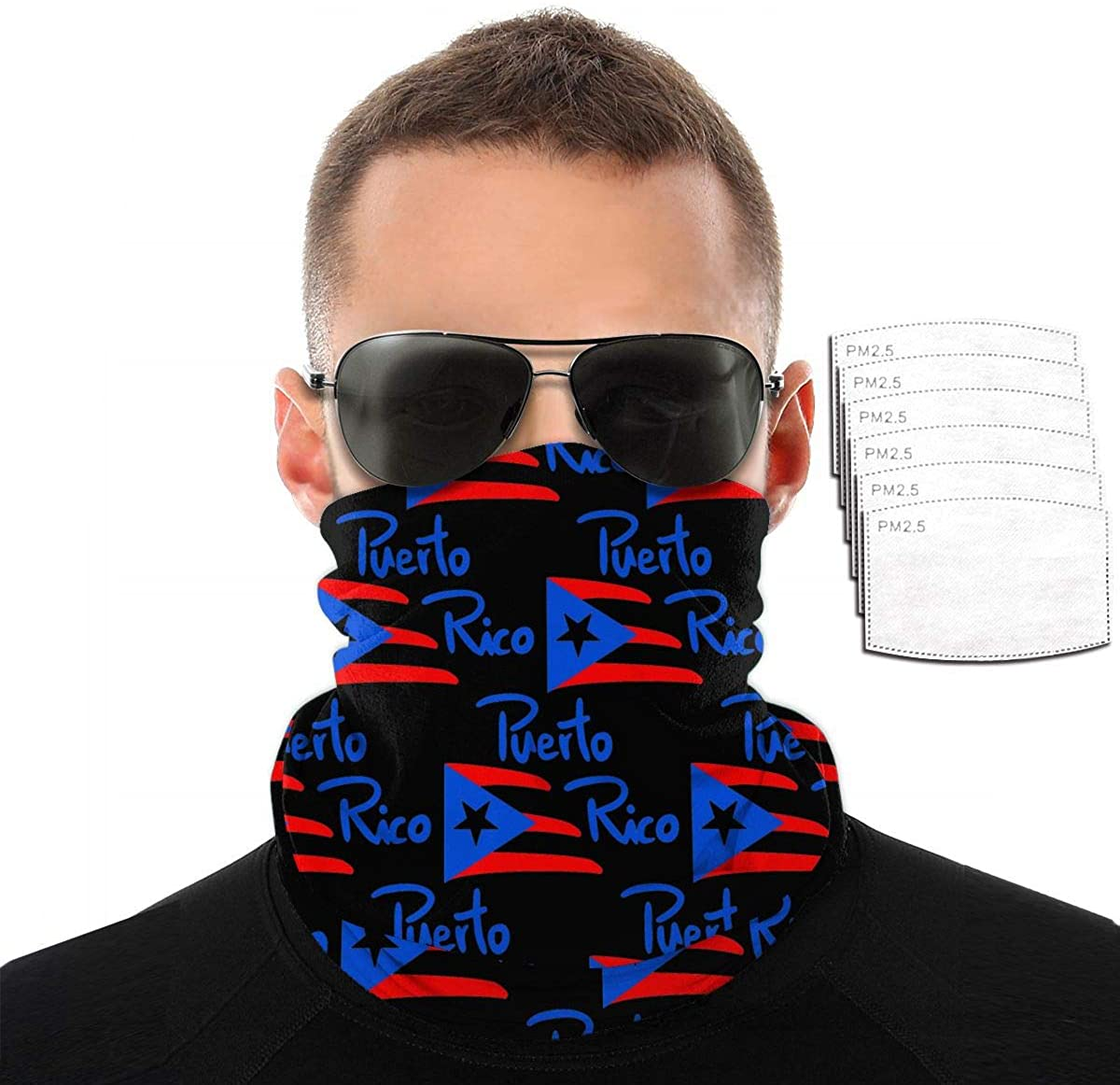 Bandanas Neck Gaiter Wind Proof Face Cover Mask (American Puerto Rico Flag)