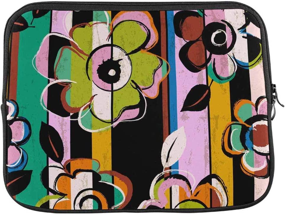INTERESTPRINT Laptop Neoprene Sleeve Bag Flower Cute Pattern Notebook Computer Carrying Case Cover 13 Inch 13.3 Inch
