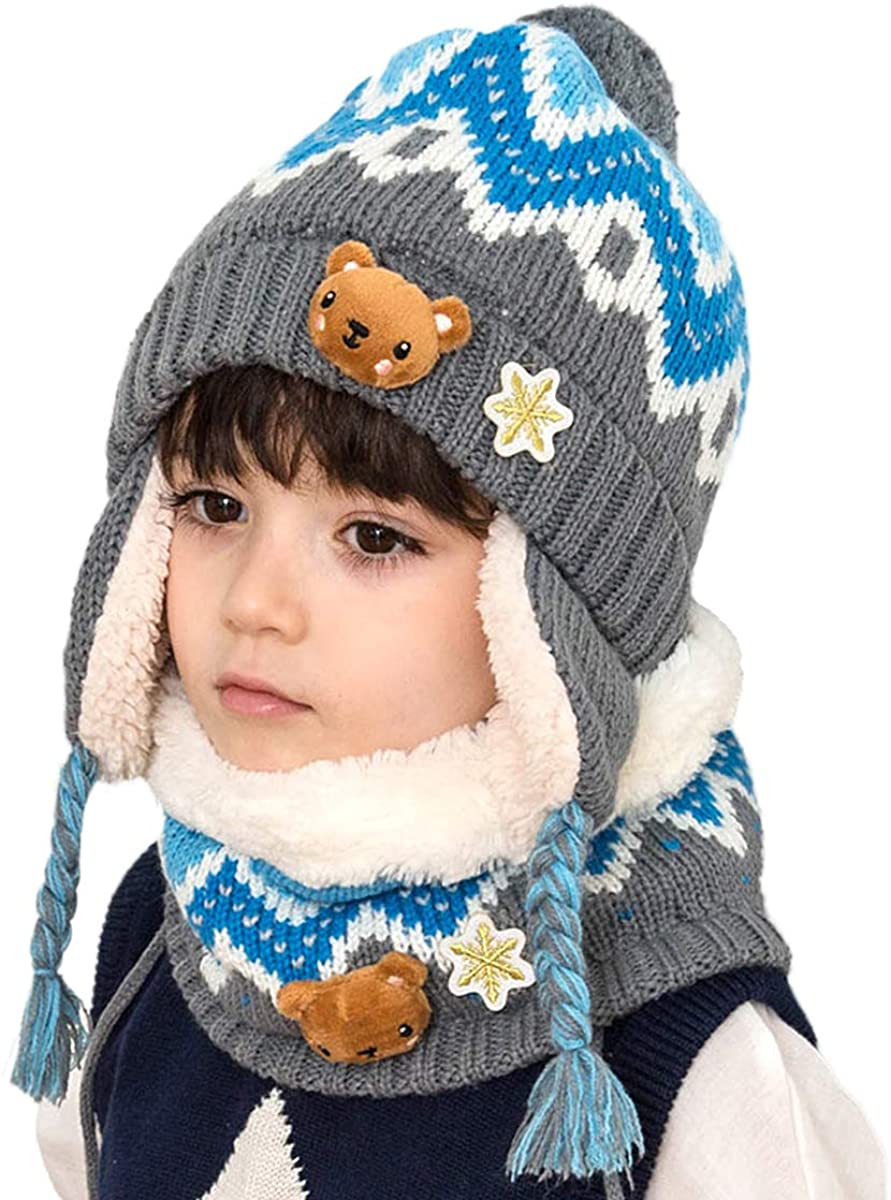 DORRISO Kids Caps Scarf Autumn Winter Spring Baby Cap Scarf Girls Boys Warm Hat