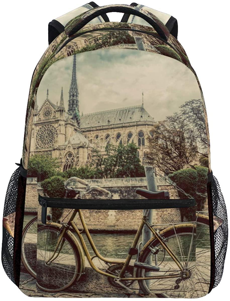 Kaariok Vintage Cycle Notre Dame Cathedral Paris France Seine River Backpack Bookbags Daypack Travel School College Bag for Womens Mens Teens
