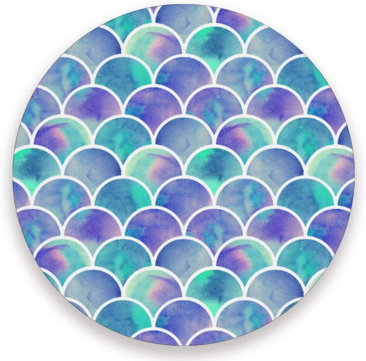 Olinyou Colorful Mermaid Scales Rainbow Coasters for Drinks Set of 2 Absorbent Moisture Absorbing Ceramic Stone Coaster with Cork Base