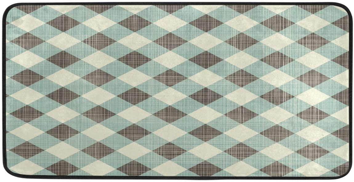 Ombra Kitchen Floor Mat Classic Rustic Plaid Check Pattern Non Slip Absorbent Runner Rugs Doormat for Entryway Entrance Bathroom Garage Home Decor Indoor Outdoor 39