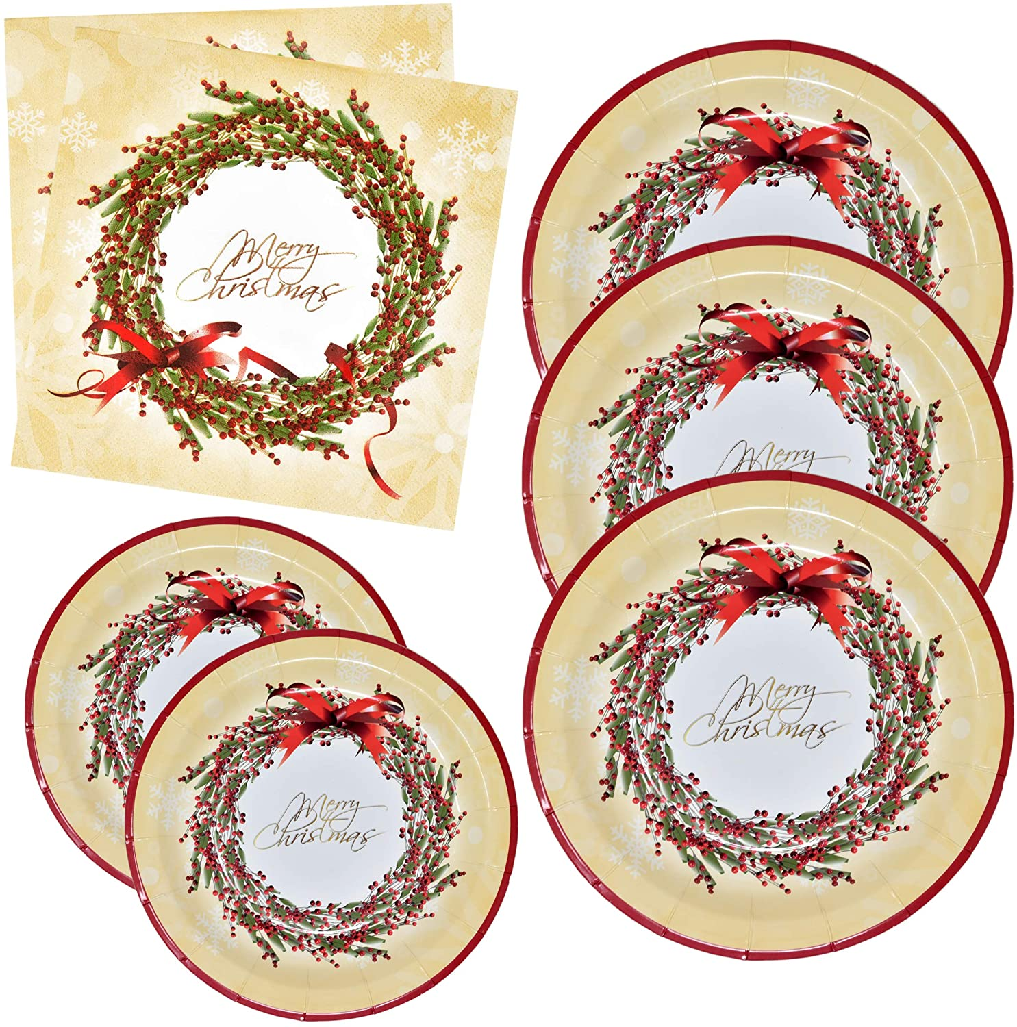 Merry Christmas Plates and Napkins Party Supplies Tableware Set 50 9