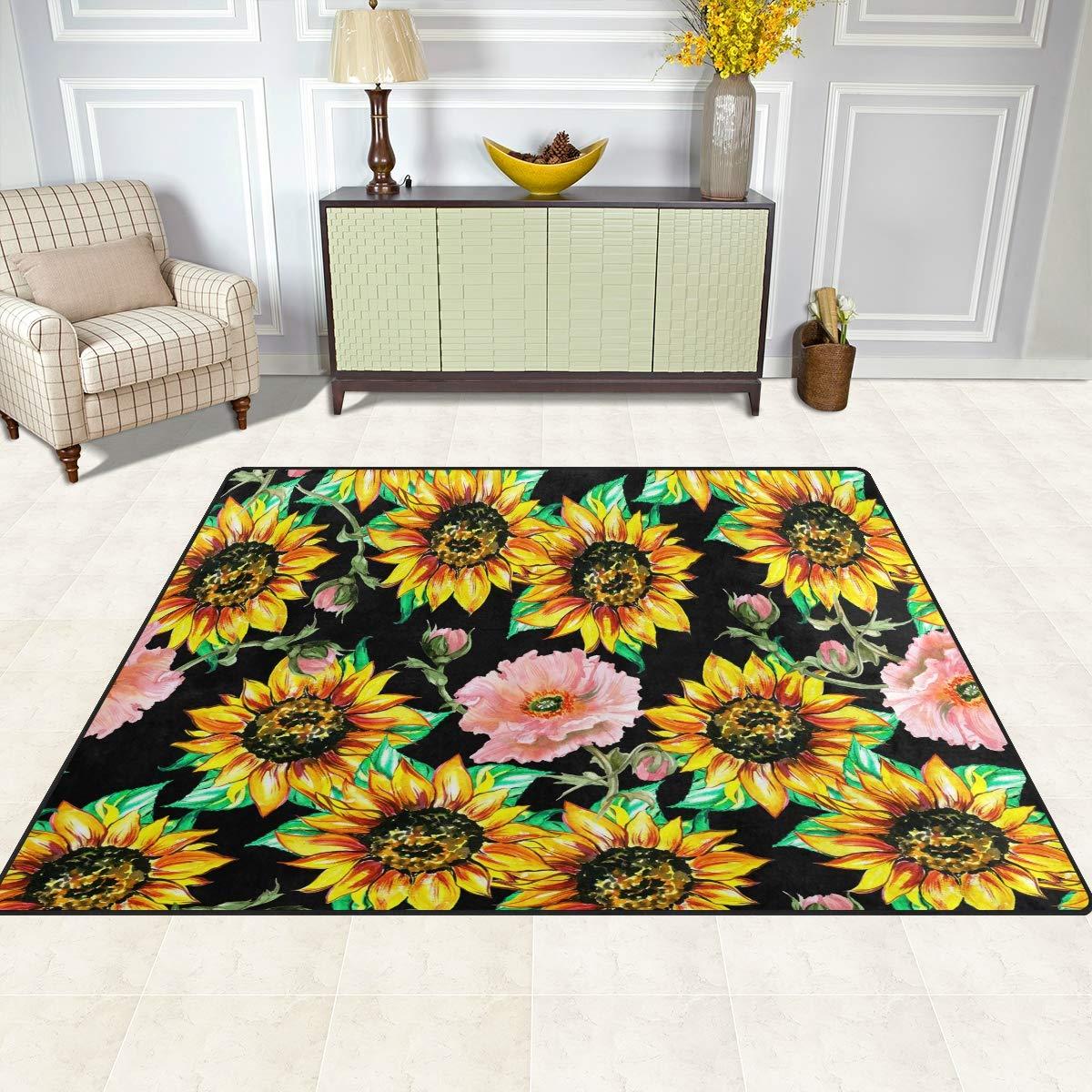 ALAZA Sunflower Red Poppy Area Rug Soft Non Slip Floor Mat Washable Carpet for Bedroom Living Room 1 Piece 5x7 Feet