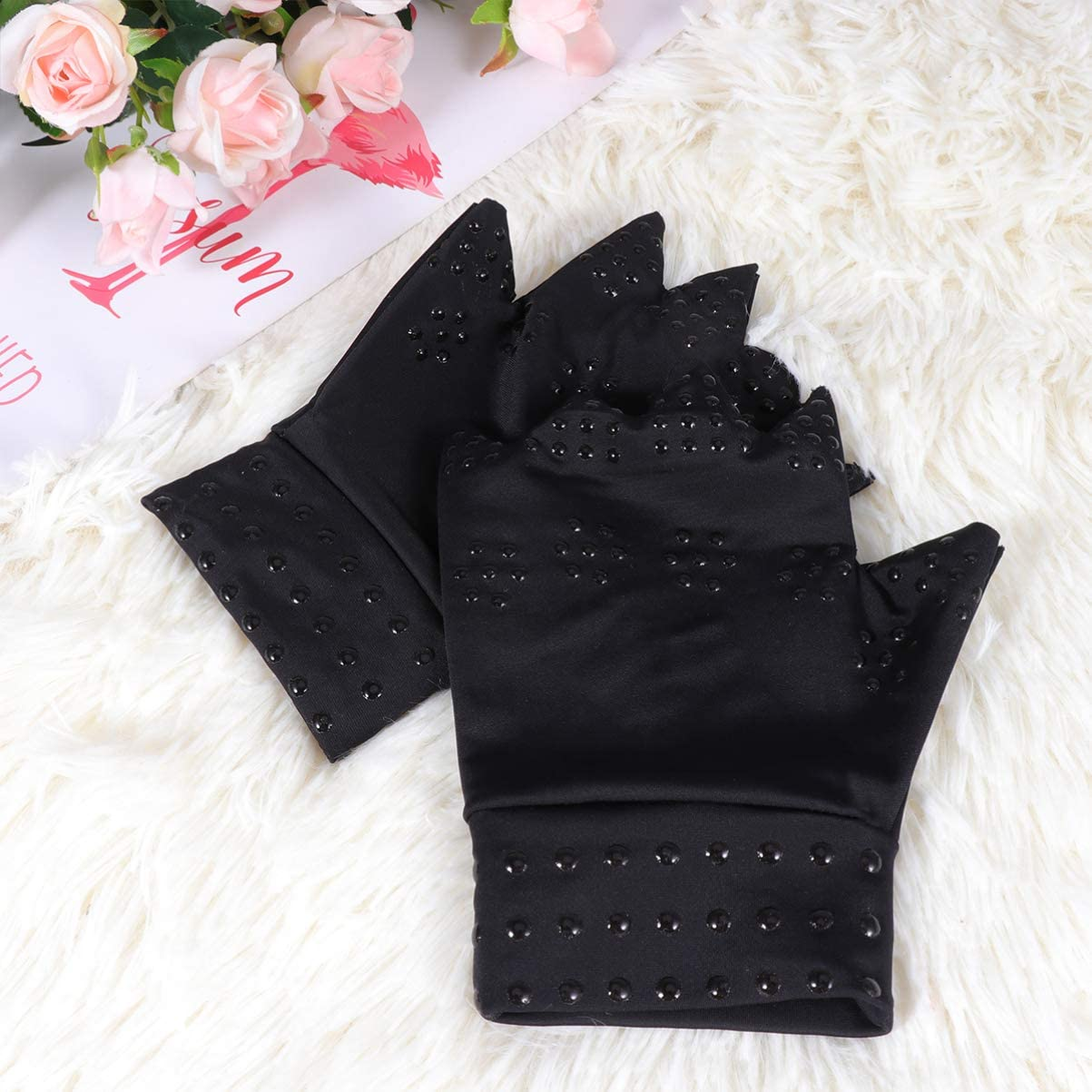 Exceart 1 Pair Arthritis Therapy Fingerless Compression Gloves Arthritis Care Gloves Finger Half Covered Gloves Fingerless Gloves Relief Hand Pain Relief Heal Joints Relief