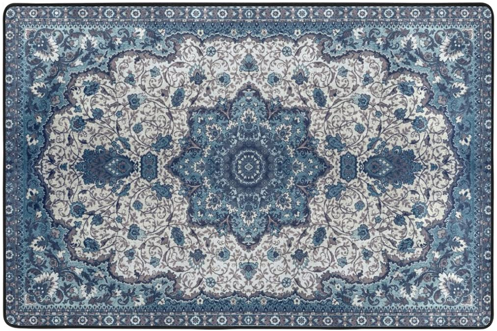 OREZI Front Door Mat,Doormat Rug Carpet for Home,Indoor,Entrance,Kitchen,Office-Washable and Absorbent Entryway Rug,24 x 36 Inches Indian Mandala Blue Flowers Bath Mat