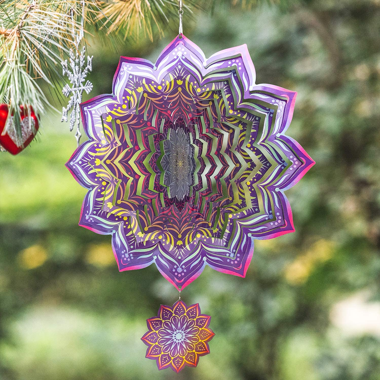 Wind Spinners Outdoor Metal Christmas Decorations Clearance | Stainless Steel Ornament for Mandala Garden Home Decor | Multi Color Metal Sun Catcher Art for Tree Pine Hanging, Backyard