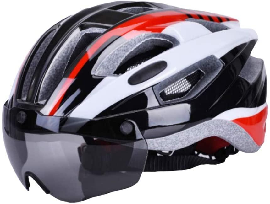 YHCWJZP Bicycle Helmet, Unisex Adults Adjustable Cycling Road Bike Helmet with Detachable Goggles Visor Red
