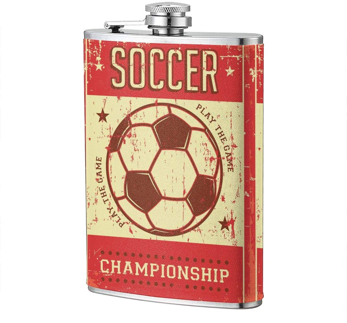 Retro Sport Soccer-Red Portable 8 Oz Stainless Steel Leak-Proof Hip Flask For Whiskey With Leather Wrap Travel Camping Wine Pot Flagon For Men Women