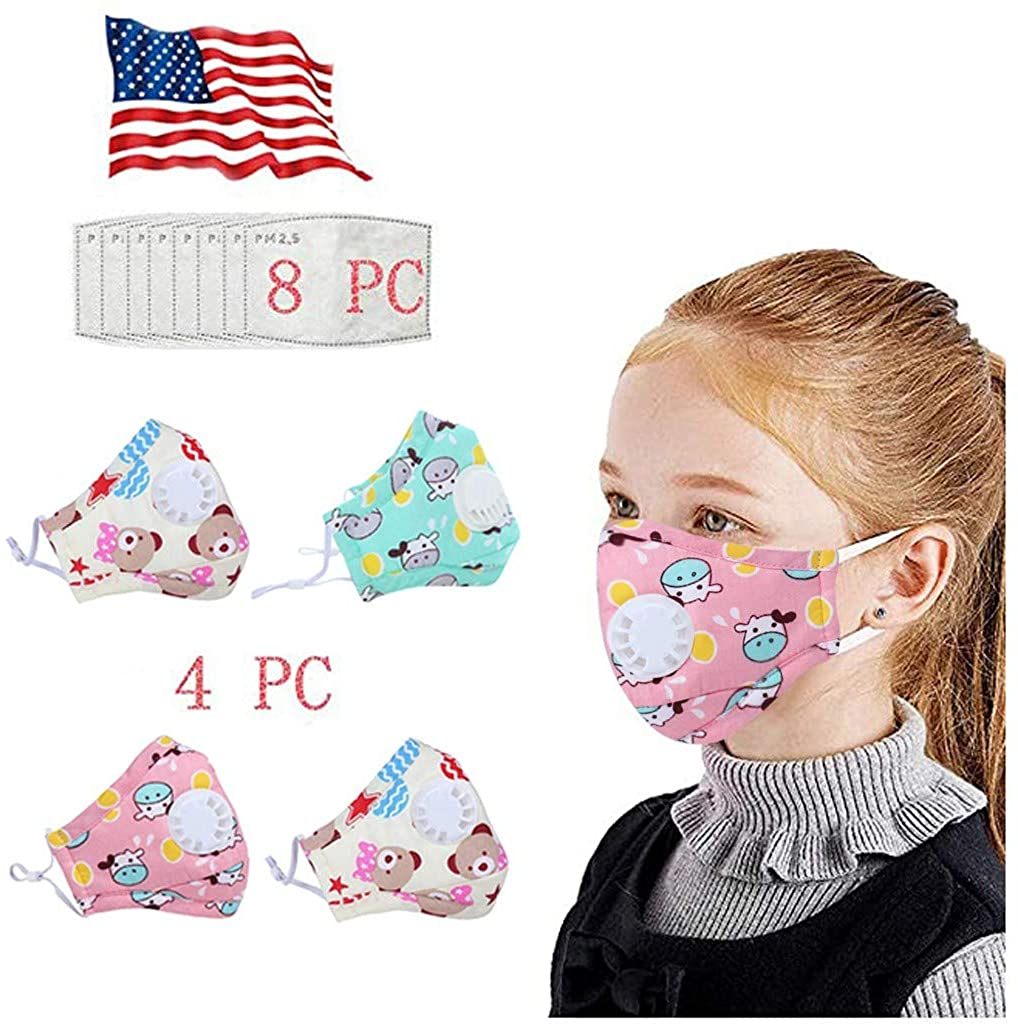 4pcs Cotton Face Covering with Breathing valve +8pcs Activated Carbon Filters Health Protection For Children Kids