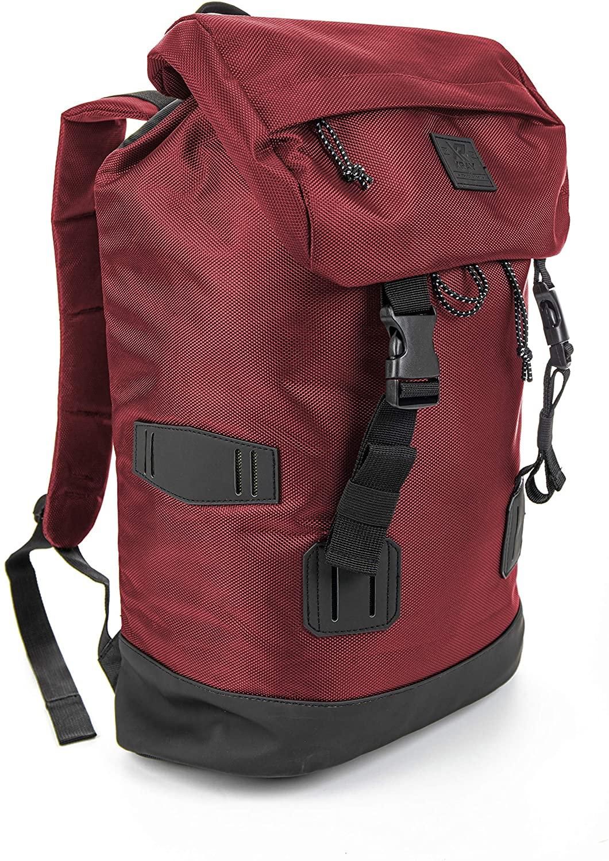 XRAY Duffle Backpack Large Canvas Retro Rucksack Travel Hiking Mountain Overnight Bag for Men and Women (Burgundy/Black)