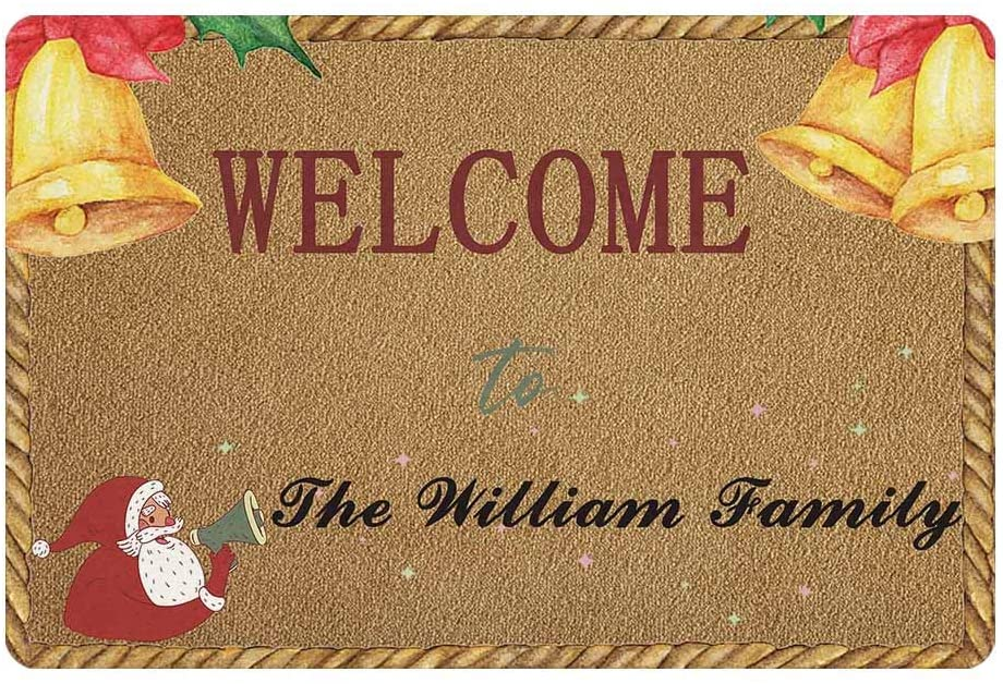 Custom Your Family Name Personalized Christmas Doormat 24 x 16 Inches Indoor Outdoor with Bell Funny Entrance Welcome Door Mat Area Rug Decor