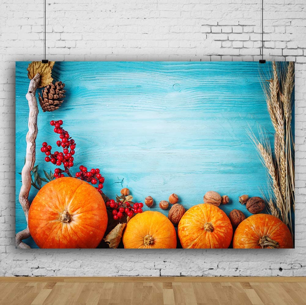 RBQOKJ 7x5ft Thanksgiving Blue Wood Backdrop Autumn Harvest Festival Photography Background Pumpkins Fruits and Vegetables Decor Backdrop for Holiday Party Photo Shoot Prop