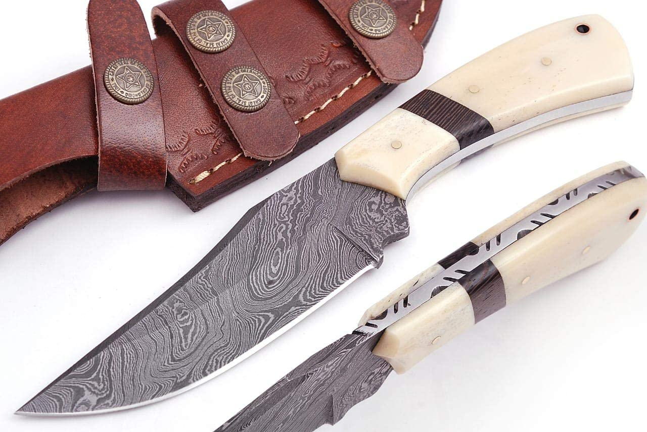 Grace Knives Handmade Damascus Steel Hunting Knife 8.5 Inches G-191 (with Sheath)