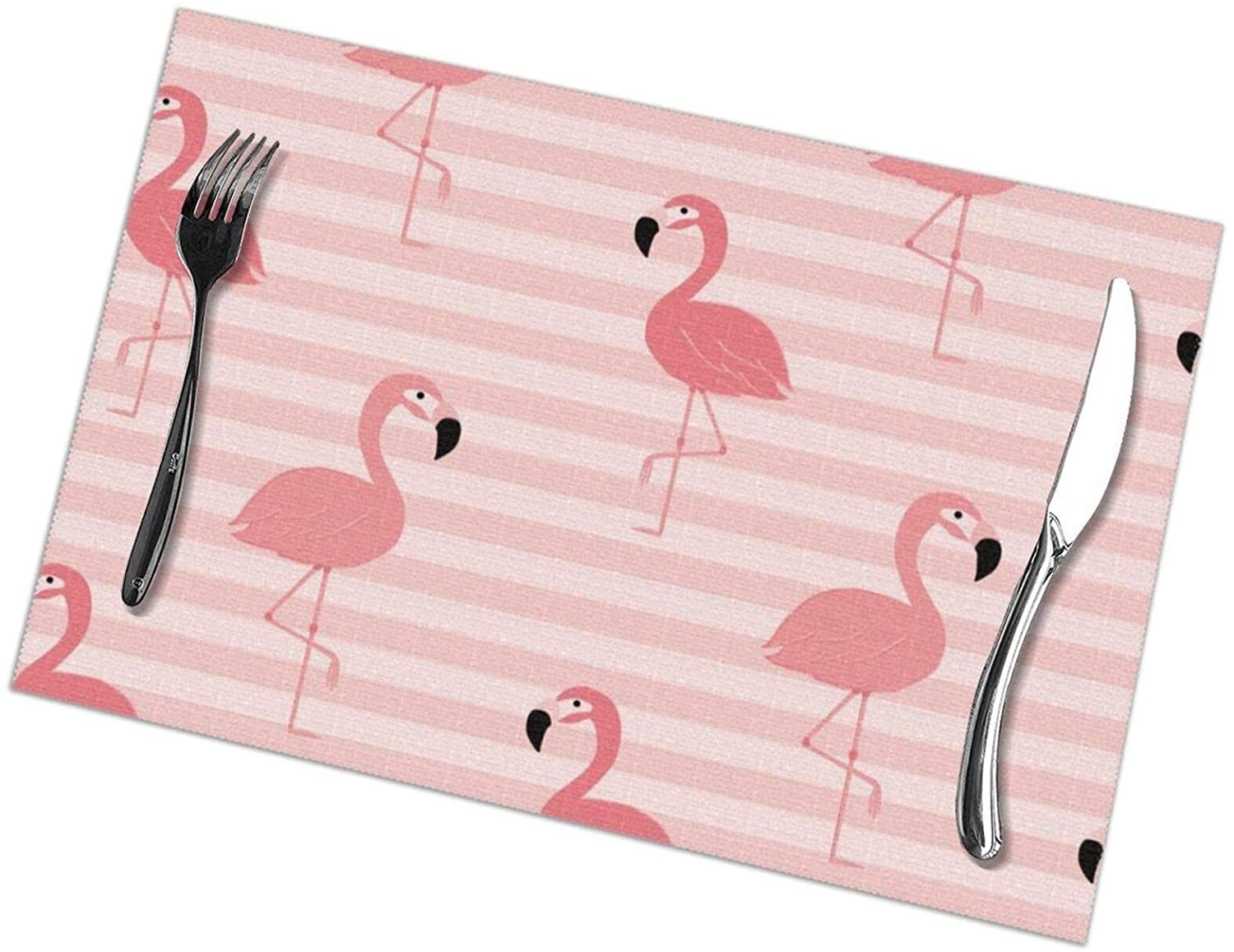 N/W Placemats Set of 6 with Pink Flamingo 12x18 Inches Polyester Heat Resistant Dining Table Place Mats,Printed Pink Stripes Kitchen Table Mats.