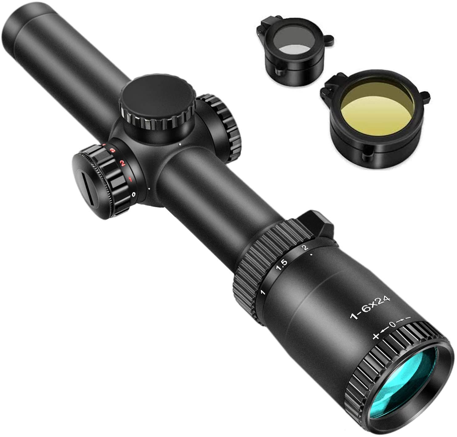 EZshoot SFP 1-6X24E RifleScope Waterproof Dual-Color (Red/Green) Illuminated-Reticle Crosshair Scope for Hunting