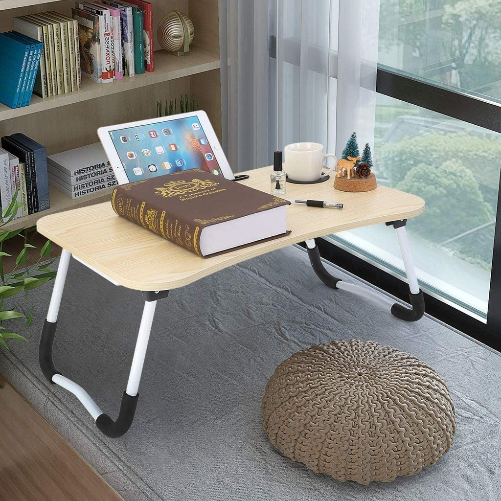 Laptop Desk Portable Laptop Bed Tray Table Notebook Stand Reading Holder with Foldable Legs & Cup Slot for Eating Breakfast, Reading Book, Watching Movie on Bed/Couch/Sofa