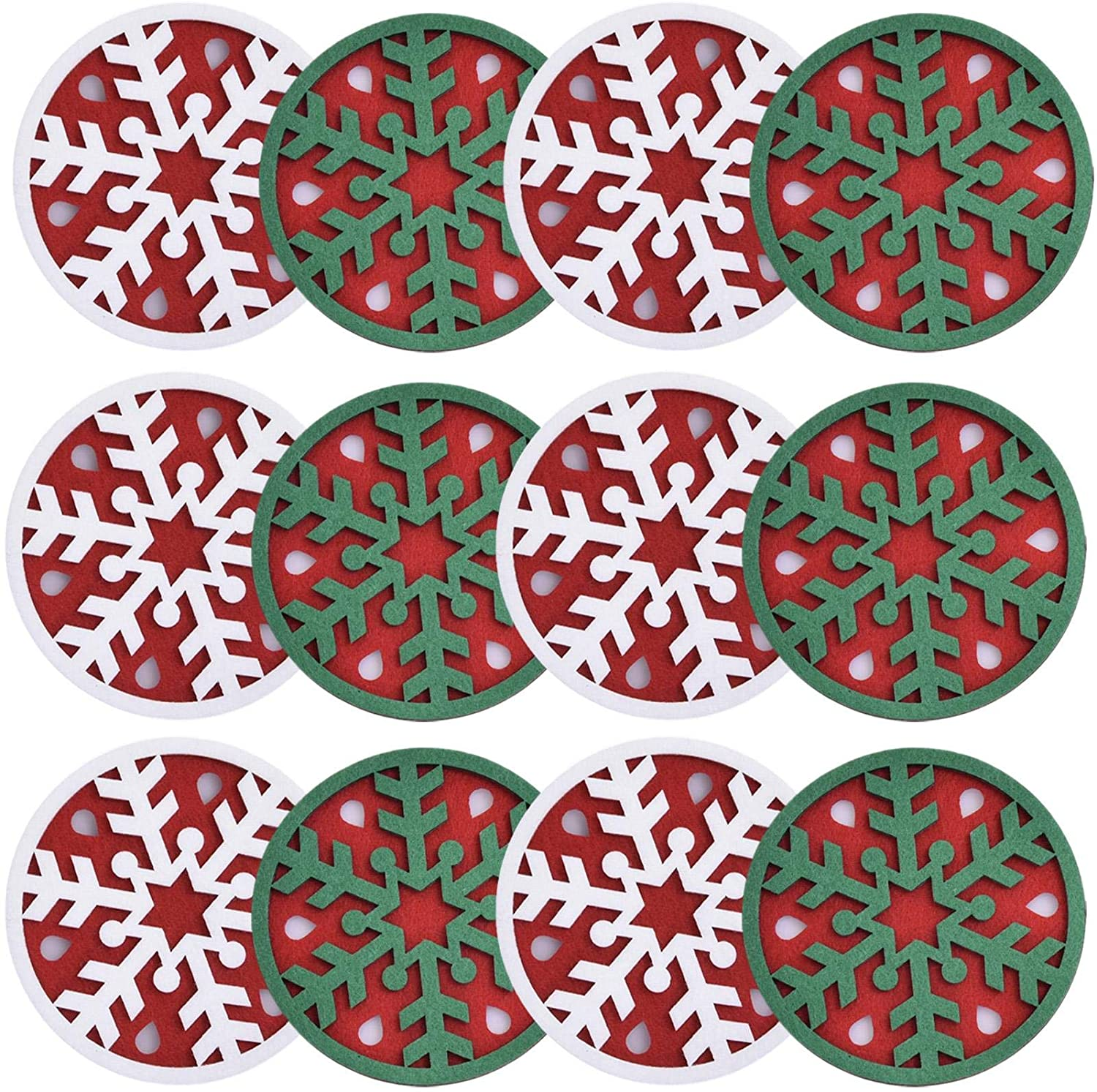 12Pcs Christmas Felt Coasters, Absorbent Felt Cup Pad, Drink Cup Mat, 3.9'' Three Dimensional Coaster For Coffee Cups, Glasses, Champagne Glasses