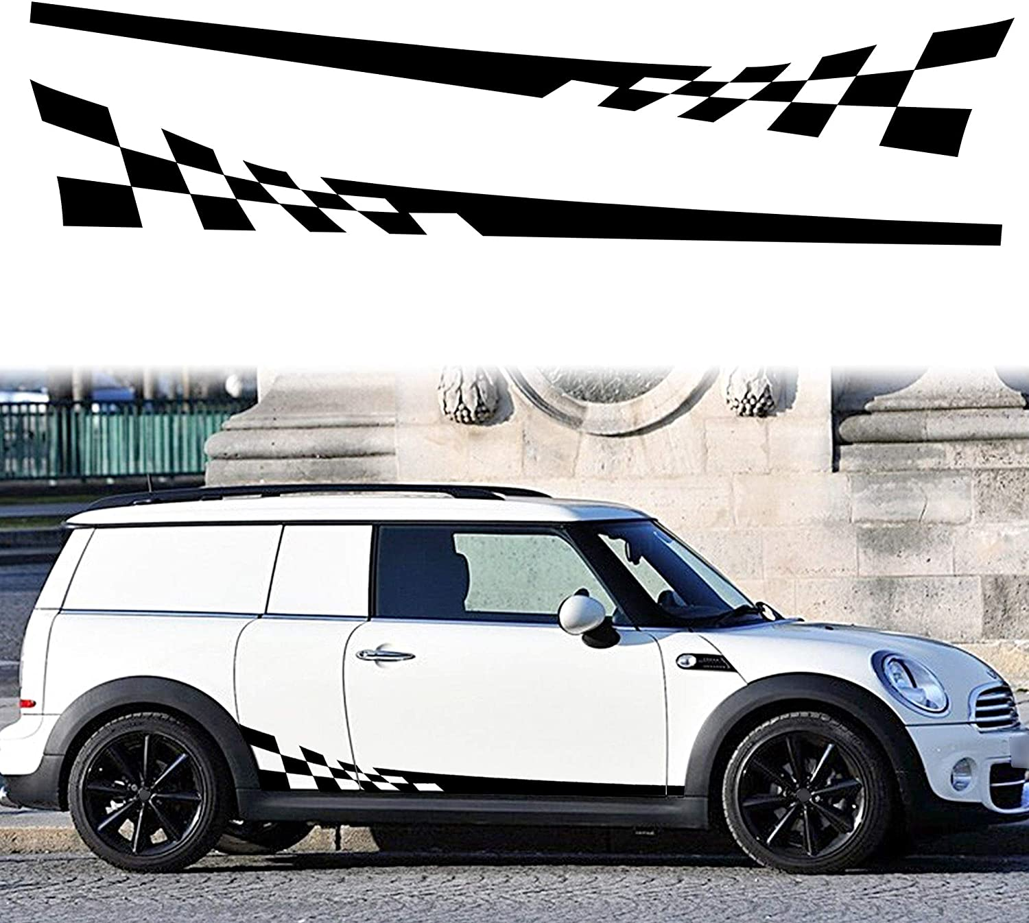 TOMALL 1 Pair 77.2 Racing Checkered Flag Side Stripe Decals Compatible with Mini Cooper Lattice Grid Stripe Graphic Waterproof Car Door Side Stickers Self-Adhesive Decorations (Black)