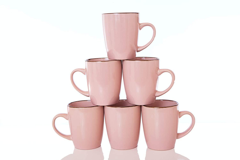 Pink Coffee Mugs,12 OZ Ceramic Mug Large Handle Set of 6 Porcelain cups for Coffee, Tea, Cocoa