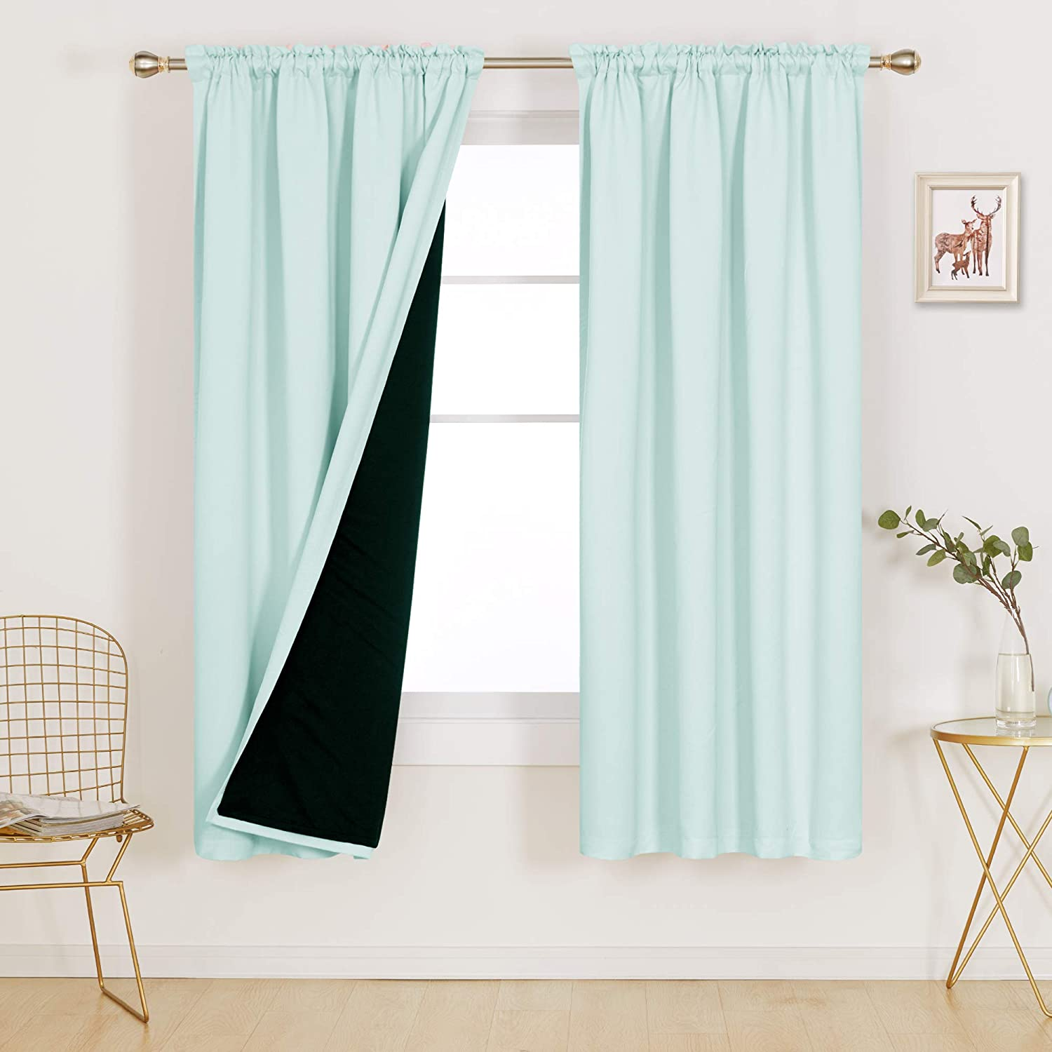 Deconovo Blue 100% Blackout Curtains Thermal Insulated Total Block Out Sun Heat Cold and Noise for Bedroom Living Room Home Office Kids Room Window Little Boy Nursery, Set of 2, 52x72 in, Baby Blue