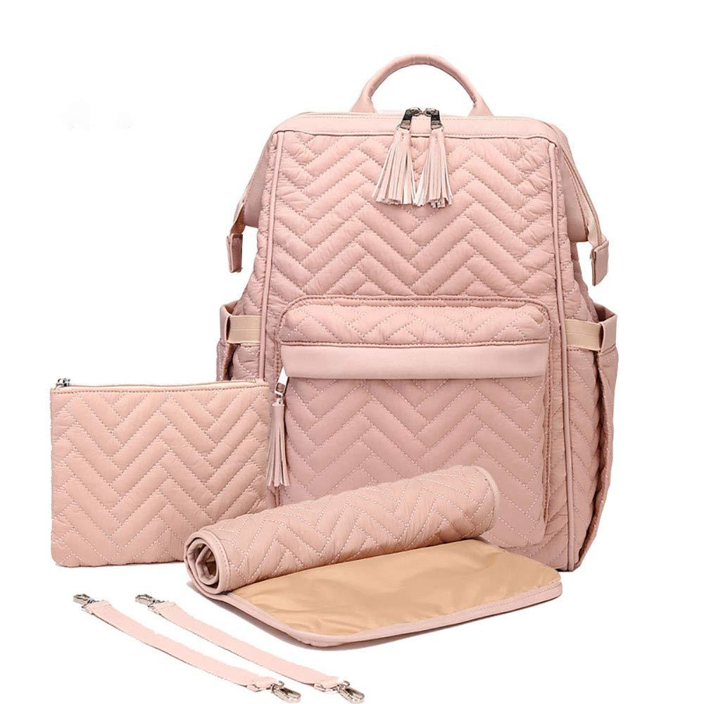 Large Capacity Waterproof Nylon Black Baby Diaper Bag Backpack, Multifunction Nappy Backpack Pink Baby Changing Bags (ping)