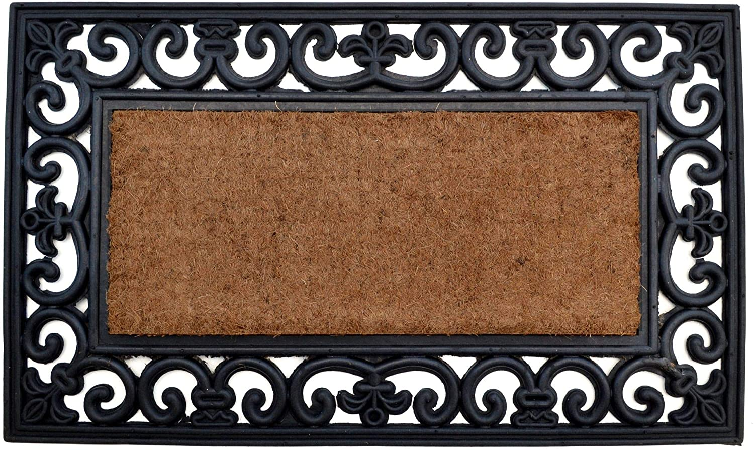 Brown and Black Rectangular Skid Free Coir Doormat with Country Rectangle Design 30